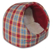 Pet Igloo - Red/Blue Tartan