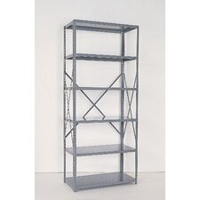 Industrial Clip Open Shelving: Angle Post Units with 5 Shelf Frames; Starter Unit