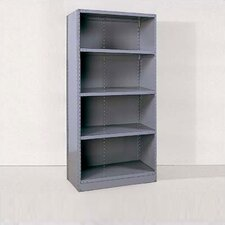 Industrial Clip Closed Shelving: Angle Post Units with 4 Shelves; Adder Unit
