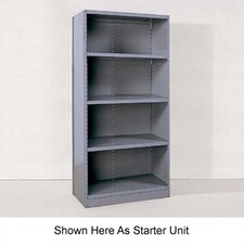 Industrial Clip Closed Shelving: Beaded Post Units with 4 Shelves; Adder Unit