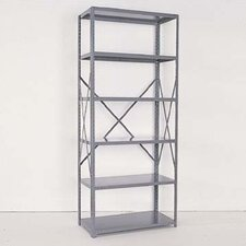 Industrial Clip Open Shelving: Angle Post Units with 5 Shelf Frames; Adder Unit