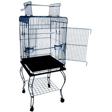 Open Top Parrot Bird Cage with Stand