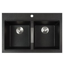 "33.5"" x 22"" Dual Mount 50/50 Double Bowl Granite Kitchen Sink"