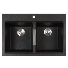"33.5"" x 22"" Dual Mount 50/50 Double Bowl Granite Kitchen Sink"