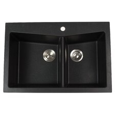 "33.5"" x 22"" Dual Mount 60/40 Double Bowl Granite Kitchen Sink"