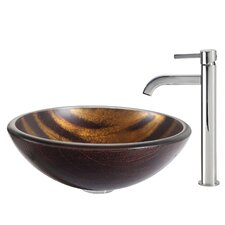 Bastet Glass Vessel Sink with Ramus Faucet