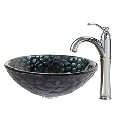 Kratos Glass Vessel Sink with Riviera Faucet