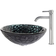 Kratos Glass Vessel Sink with Ramus Faucet