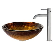 Midas Glass Vessel Sink with Ramus Faucet