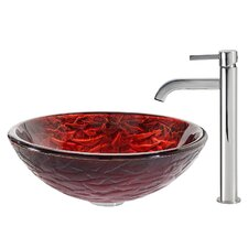 Nix Glass Vessel Sink with Ramus Faucet