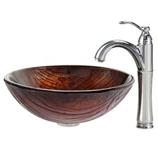 Titania Glass Vessel Sink with Riviera Faucet