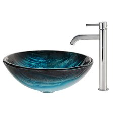 Ladon Glass Vessel Sink with Ramus Faucet