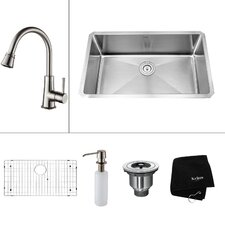 "30"" x 18"" Undermount Single Bowl Kitchen Sink with Faucet and Soap Dispenser"