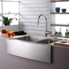 "32.88"" x 20.75"" Double Bowl Farmhouse Kitchen Sink with Faucet and Soap Dispenser"
