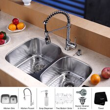 "32"" x 20.75"" Undermount 60/40 Double Bowl Kitchen Sink Set"