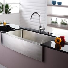 "35.875"" x 20.75"" Farmhouse Kitchen Sink with Faucet and Soap Dispenser"