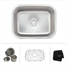 "23"" x 17.75"" 4 Piece Single Bowl Kitchen Sink Set"
