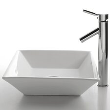 <strong>Kraus</strong> Ceramic Square Bathroom Sink with Sheven Single Lever Faucet