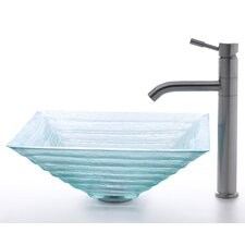 Square Clear Alexandrite Glass Sink and Aldo Faucet