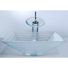 <strong>Kraus</strong> Clear Glass Alexandrite Bathroom Sink and Waterfall Faucet