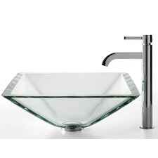 <strong>Kraus</strong> Square Aquamarine Glass Sink and Ramus Faucet