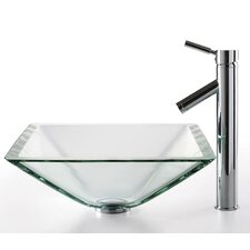 <strong>Kraus</strong> Square Aquamarine Glass Sink and Sheven Faucet