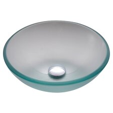 Frosted 14 inch Glass Vessel Sink with PU-MR
