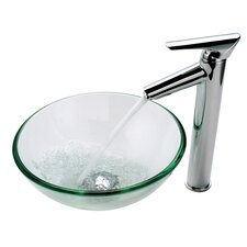 "14"" Vessel Sink and Decus Bathroom Faucet"