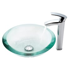 Clear Glass 34 mm Edge Vessel Sink and Visio Bathroom Faucet in Chrome