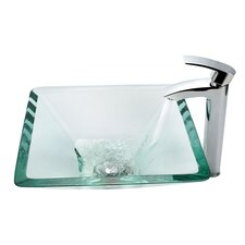 Aquamarine Glass Vessel Sink and Visio Bathroom Faucet in Chrome