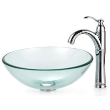Clear Glass Vessel Sink and Rivera Faucet