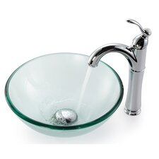 "Clear Glass 0.5"" Vessel Sink and Rivera Faucet"