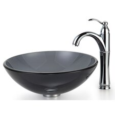 Clear Black Glass Vessel Sink and Rivera Faucet