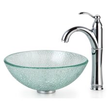 Broken Glass Vessel Bathroom Sink with Faucet