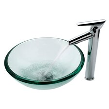 Clear Glass 19 mm Vessel Sink and Decus Bathroom Faucet in Chrome