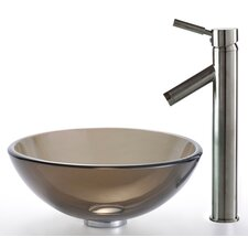 Clear Brown Glass Vessel Sink and Sheven Faucet