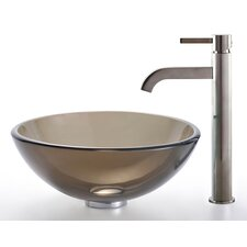 <strong>Kraus</strong> Clear Brown Glass Vessel Sink and Ramus Faucet