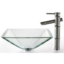 Square Aquamarine Glass Sink and Bamboo Faucet