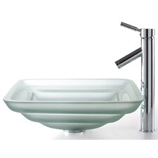 Square Frosted Oceania Glass Sink and Sheven Faucet