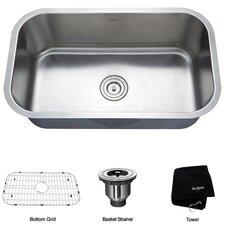 """Stainless Steel 16 Gauge Undermount 30"""" Single Bowl Kitchen Sink"""
