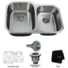 "31.5"" x 20.5""  6 Piece Undermount Double Bowl 16 Gauge Kitchen Sink Set"