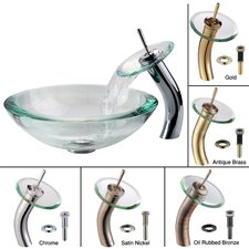 <strong>Kraus</strong> Clear 34mm edge Glass Vessel Sink and Waterfall Faucet