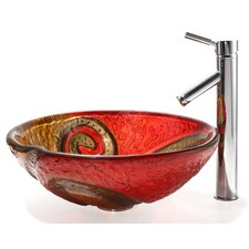 Bathroom Combos Snake Glass Vessel Bathroom Sink with Sheven Faucet