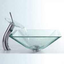 Glass Combinations Aquamarine Square Vessel Bathroom Sink and Waterfall Faucet