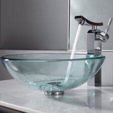 <strong>Kraus</strong> Bathroom Combos Glass Single Hole Bathroom Sink with Single Handle Faucet