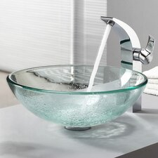 <strong>Kraus</strong> Bathroom Combos Glass Vessel Bathroom Sink with Single Handle Single Hole Faucet