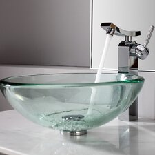 <strong>Kraus</strong> Clear Sink and Single Hole Faucet with Single Handle