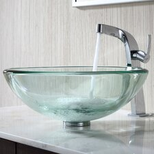 <strong>Kraus</strong> Clear 19Mm Thick Glass Vessel Sink and Single Hole Faucet with Single Handle