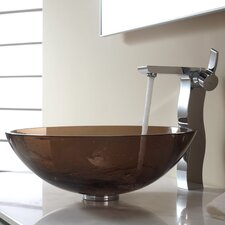 Bathroom Combos Glass Vessel Bathroom Sink with Single Handle Faucet