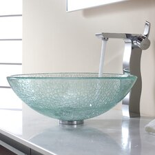 <strong>Kraus</strong> Bathroom Combos Broken Glass Vessel Bathroom Sink with Single Handle Single Hole Faucet